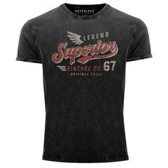 Herren Vintage Shirt Retro Motiv Schriftzug Superior Legend Flügel Printshirt T-Shirt Aufdruck Used Look Slim Fit Neverless®