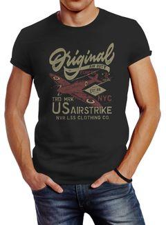 Herren T-Shirt US Airforce Army Motiv Spitfire Flugzeug Vintage Motiv Retro Schriftzug Fashion Streetstyle Neverless®