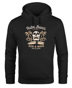 Hoodie Herren Aufdruck Print Totenkopf Surfing Motiv Palm Beach Kapuzen-Pullover Männer Neverless®