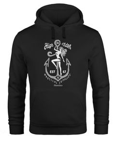 Hoodie Herren Aufdruck Anker nackte Frau High Tides Nautical Supplies Kapuzen-Pullover Männer Neverless®