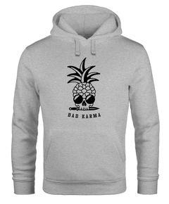 Hoodie Herren Totenkopf Ananas Schriftzug Bad Karma Kapuzen-Pullover Männer Fashion Streetstyle Neverless®