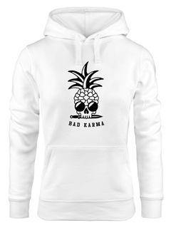 Hoodie Damen Totenkopf Ananas Schriftzug Bad Karma Kapuzen-Pullover Neverless®