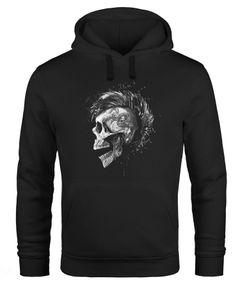 Hoodie Herren Punk Mohawk Skull Totenkopf Irokese Print Kapuzen-Pullover Männer Fashion Streetstyle Neverless®
