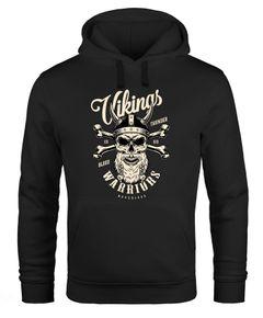 Hoodie Herren Wikinger Vikings Totenkopf Warriors Print Kapuzen-Pullover Männer Neverless®
