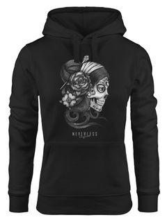 Hoodie Damen Santa Print Muerte La catrina Mexican Skull Dia de los Muertos Tattoo Design Kapuzen-Pullover Neverless®