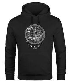 Hoodie Herren Valhalla Odin Emblem Print Kapuzen-Pullover Männer Vikings Wikinger Neverless®