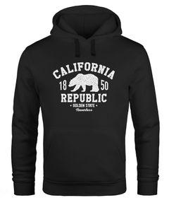Hoodie Herren California Republic Kalifornien Grizzly Bär Bear Aufdruck Print Kapuzen-Pullover Männer Neverless®