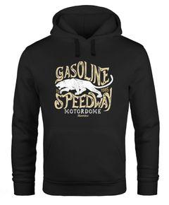 """Hoodie Herren Aufdruck """"Gasoline Speedway"""" und Panther Print Kapuzen-Pullover Männer Fashion Streetstyle Neverless®"""