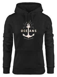 Hoodie Damen Anker Motiv maritim Schriftzug Oceans Kapuzen-Pullover Neverless®