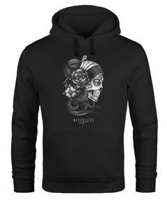 Hoodie Herren Santa Muerte La catrina Mexican Skull Dia de los Muertos Tattoo Design Kapuzen-Pullover Männer Neverless®