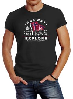 Herren T-Shirt Norway Explore norwegische Flagge Norwegen Neverless®