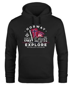 Hoodie Herren Norway Explore norwegische Flagge Norwegen Kapuzen-Pullover Männer Neverless®