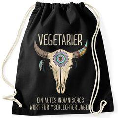 Turnbeutel mit Spruch lustig Vegetarier ein altes indianisches Sprichwort für schlechter Jäger Motiv Büffelschädel Moonworks®