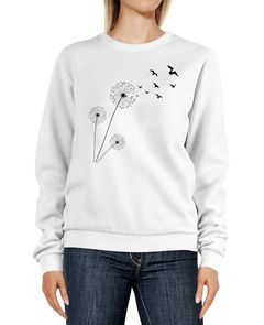 Sweatshirt Damen Pusteblume Vögel Dandelion Birds Rundhals-Pullover Pulli Sweater Neverless®