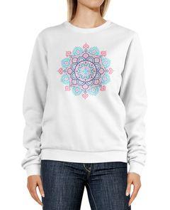 Sweatshirt Damen Mandala Ethno Print Boho Bohemian Style Rundhals-Pullover Pulli Sweater Neverless®