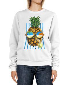 Sweatshirt Damen Aufdruck Ananas Sonnenbrille chillen Beach Party Strand Rundhals-Pullover Pulli Sweater Neverless®