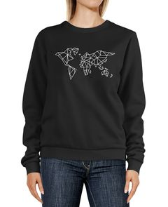 Sweatshirt Damen Weltkarte World Map Polygon Design Low Poly Geometrie Rundhals-Pullover Pulli Sweater Neverless®