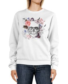 Sweatshirt Damen Totenkopf Blumen Boho Design Print Flower Skull Rundhals-Pullover Pulli Sweater Neverless®