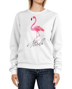 Sweatshirt Damen Flamingo Print Florida Schriftzug Watercolor Design Rundhals-Pullover Pulli Sweater Neverless®