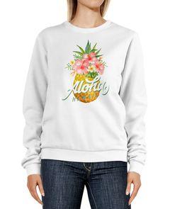 Sweatshirt Damen Ananas Tropical Design Schriftzug Aloha Hawaii tropische Blüten Rundhals-Pullover Pulli Sweater Neverless®