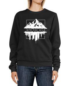 Sweatshirt Damen Aufdruck Into the Wild Berge versus Skyline Adventure Abenteuer Rundhals-Pullover Pulli Sweater Neverless®