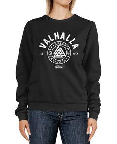 Sweatshirt Damen Valhalla Wikinger Motiv Runen Rundhals-Pullover Pulli Sweater Neverless®