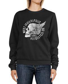 Sweatshirt Damen Motorrad Biker Totenkopf Skull Wings Vintage Design Rundhals-Pullover Pulli Sweater Neverless®