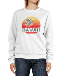 Sweatshirt Damen Hawaii Aufdruck Schriftzug Tropical Retro Print Palme Rundhals-Pullover Pulli Sweater Neverless®