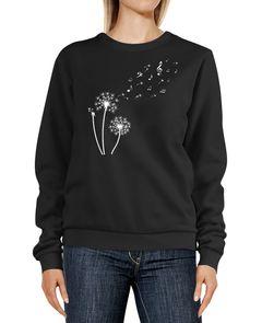 Sweatshirt Damen Pusteblume Musiknoten Noten Musik Löwenzahn Dandelion Rundhals-Pullover Pulli Sweater Neverless®