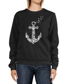 Sweatshirt Damen Anker Vögel Print Aufdruck Rundhals-Pullover Pulli Sweater Neverless®