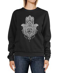 Sweatshirt Damen Print Hamsa Mandala Boho Bohamian Ethno Tribal Ornament Rundhals-Pullover Pulli Sweater Neverless®