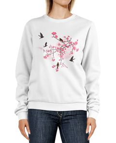 Sweatshirt Damen Print Kirschblüten Vögel Japan Rundhals-Pullover Pulli Sweater Neverless®