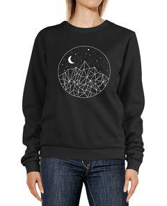 Sweatshirt Damen Print Berge und Sterne Polygon Design Rundhals-Pullover Pulli Sweater Neverless®
