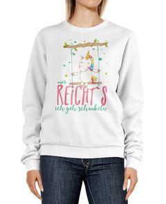 Sweatshirt Damen Einhorn Unicorn Mir reichts ich geh schaukeln Spruch Rundhals-Pullover Pulli Sweater Moonworks®