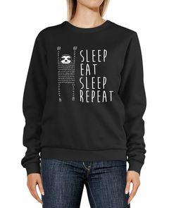 Sweatshirt Damen Sleep eat Sleep Repeat Aufdruck Faultier Rundhals-Pullover Pulli Sweater Moonworks®