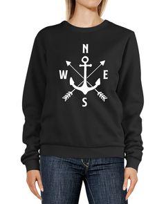 Sweatshirt Damen Aufdruck Motiv Anker Kompass Pfeile Rundhals-Pullover Pulli Sweater Moonworks®