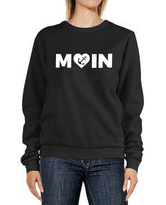 Sweatshirt Damen Aufdruck Moin Herz mit Anker Rundhals-Pullover Pulli Sweater Moonworks®