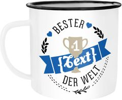 Emaille Tasse Becher Bester Papa, Mama, Oma, Opa etc Kaffeetasse Moonworks®