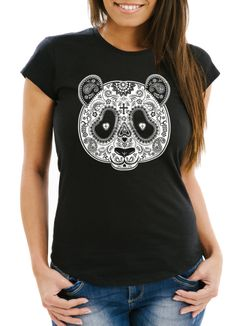 Damen T-Shirt Panda Mask Paisley Muster Day of Dead Slim Fit Moonworks®
