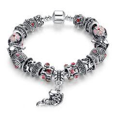 Bettelarmband Beads-Armband Schmuck-Armband Beads Anhänger Fisch Herz Tiere Blumen versilbert Autiga®