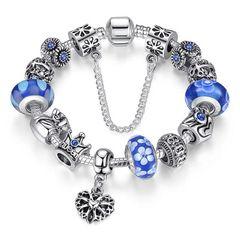 Bettelarmband Beads-Armband Schmuck-Armband Beads Anhänger Herz Krone Anker versilbert Autiga®