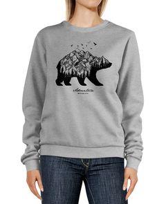 Sweatshirt Damen Aufdruck Bär Berge Wald Mountains Adventure Rundhals-Pullover Pulli Sweater Neverless®