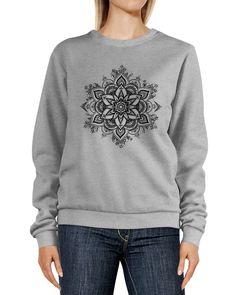 Sweatshirt Damen Aufdruck Mandala Ethno Boho Ornament Rundhals-Pullover Pulli Sweater Neverless®
