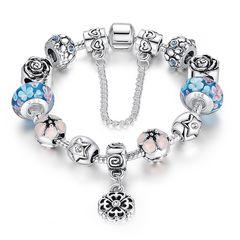 Bettelarmband Beads-Armband Schmuck-Armband Beads Anhänger Blume Rose Herz Stern versilbert Autiga®