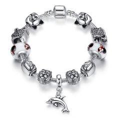 Bettelarmband Beads-Armband Schmuck-Armband Beads Anhänger Delfin Delphin Katze Hund versilbert Autiga®