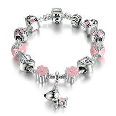 Bettelarmband Beads-Armband Schmuck-Armband Beads Anhänger Hiund Kleeblatt Herz versilbert Autiga®