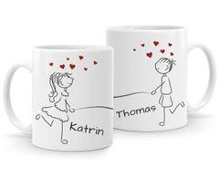 Kaffee-Tasse mit Namen Liebes-Paar Strichmännchen Motiv personalisierbar Liebesgeschenke Valentinstag Weihnachten (1 Tasse) SpecialMe®