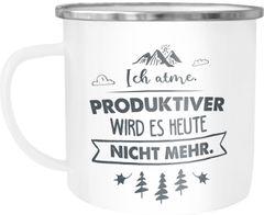Emaille Tasse Becher Ich atme Produktiver wird es heute nicht mehr Spruch lustig Kaffeetasse Moonworks®