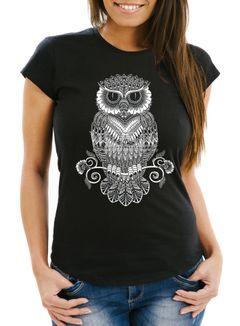 Damen T-Shirt Eule Mandala Zentangle Owl SlimFit tailliert Baumwolle Neverless®