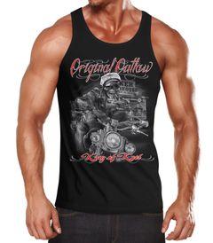 Herren Tanktop King Of The Road Motorrad Biker Skelett Rockabilly Neverless®
